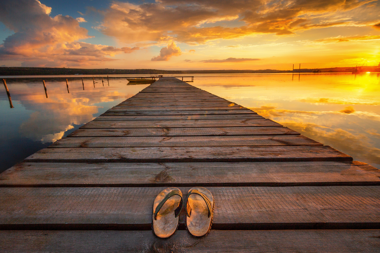 Small Dock and Boat at the lake, sunset shot